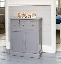 Grey Shabby Chic Sideboard Cupboard 3 Drawers Bedroom Hallway Storage Unit