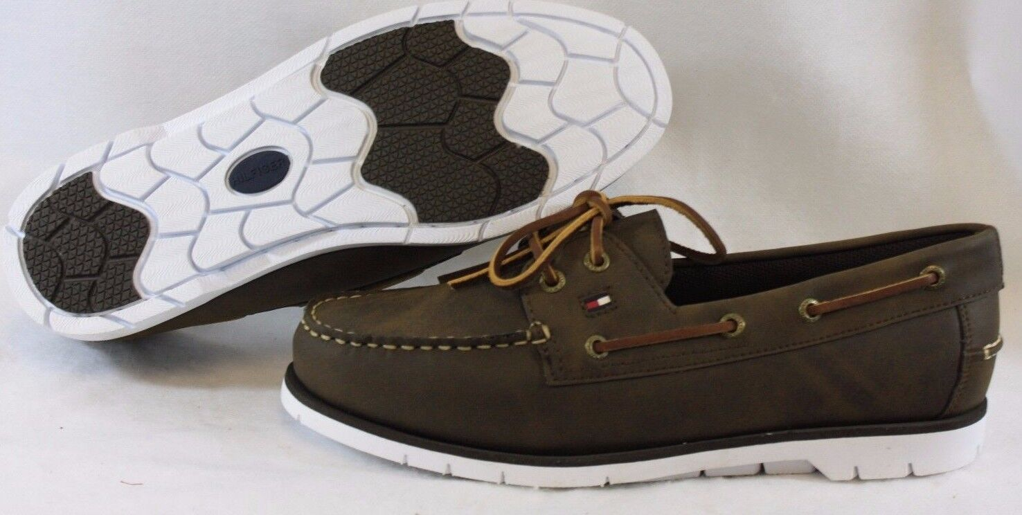 NEW  Uomo TOMMY HILFIGER Leder TM Dylan Braun Synthetic Leder HILFIGER Casual Boat Style Schuhes 114554