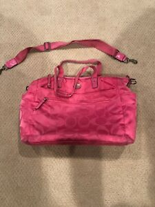 Details About Coach Hot Pink Signature Nylon Baby Diaper Bag Designer Handbag