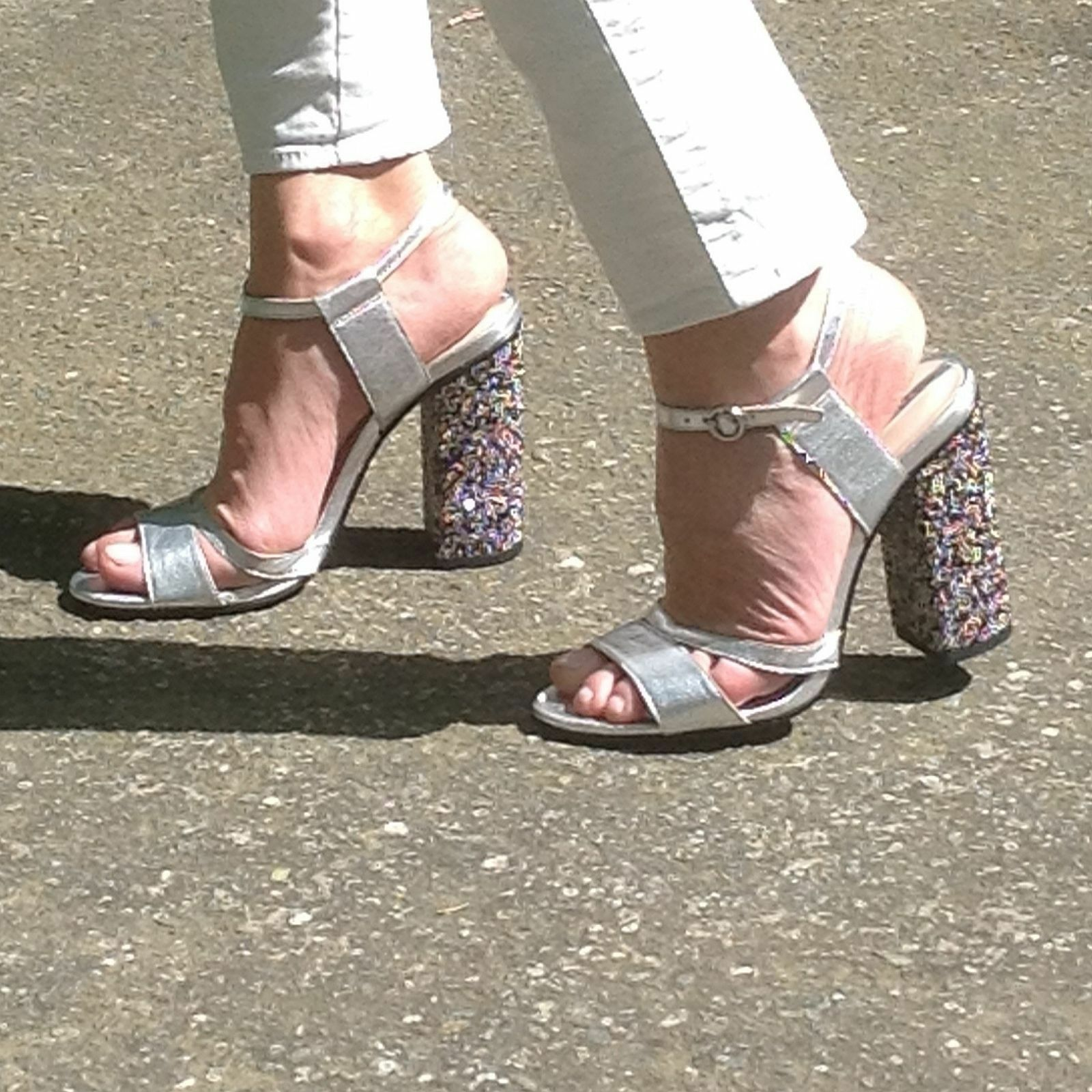ZARA SILVER ANKLE STRAP Schuhe SANDALS WITH DIAMONTE EUR39 HEEL SIZE UK6 US8 EUR39 DIAMONTE a355ff