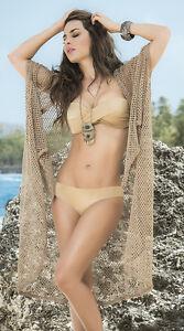 3e2e3b68a85fd Espiral Net Kimono Swimsuit Cover Up Beach Dress 7816 ~ Mocha or ...
