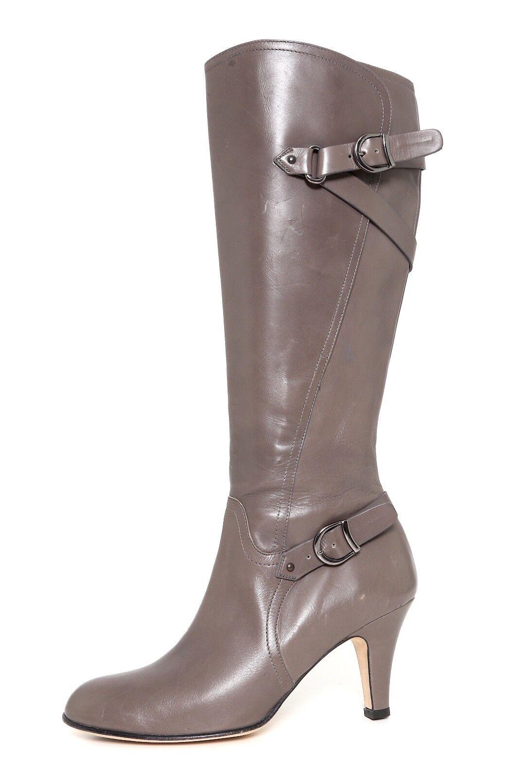 Anyi Lu Viktoria Leather Knee Boot Grey Women Sz 38.5 *