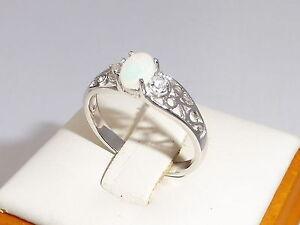 Damen-Sterling-Silber-925-Silber-Opal-Solitaire-mit-weissen-Saphir-Akzente-Ring
