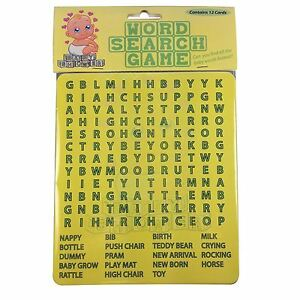 Baby Shower Word Search Game Baby Shower Party Games Kids Fun For