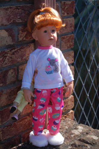 Puppenkleidung Schlafanzug PJ und Fluffy Slipper für 46-50 cm schlanke Puppe