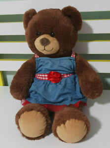 BUILD-A-BEAR-GIRL-BROWN-TEDDY-BEAR-DRESS-WITH-RED-ROSE-AND-CHECKERS-40CM