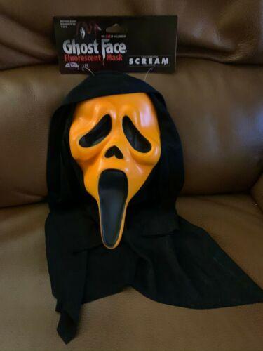 Halloween Scream Mask Flourescent Orange NIP Fun World Div Easter Unlimited Inc
