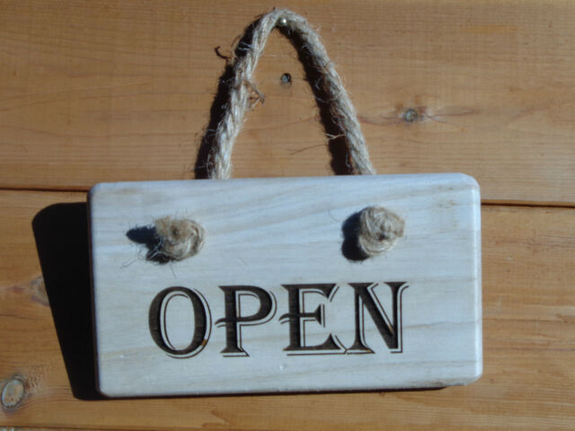 Closed Sign Reversible Hand Crafted Chunky Wooden Engraved Open