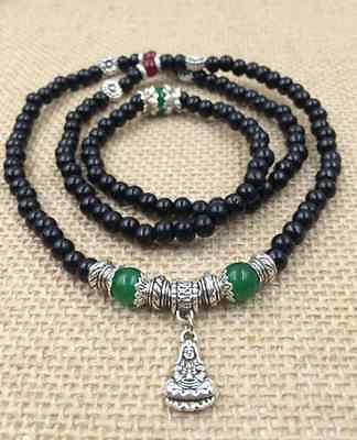6mm original sandalwood beads Tibet silver guanyin pendant adjustable bracelets