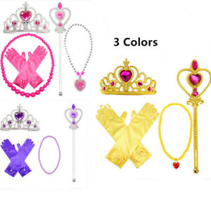 5pcs Princess Belle Dress up Party Accessory Gift:Gloves Wand Tiara Necklace Set
