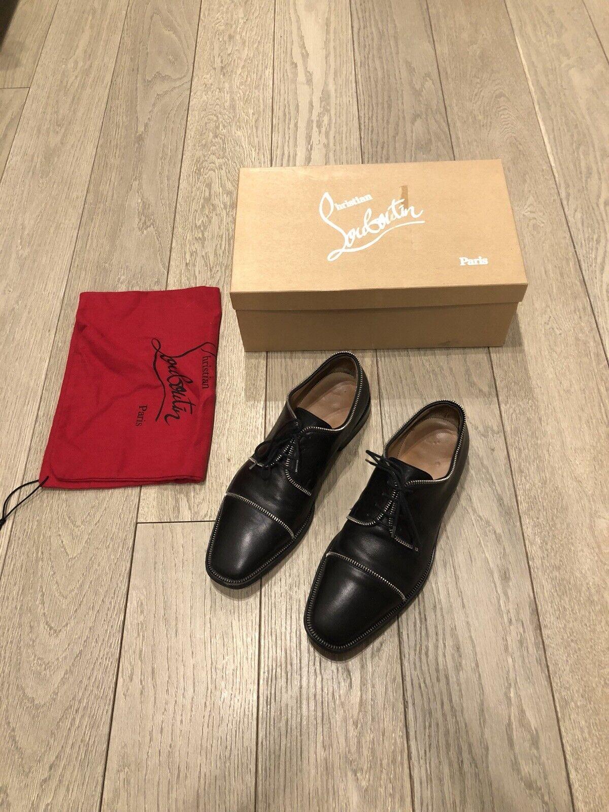 Christian louboutin Zipper Oxford Dress shoes Size 7.5 40.5 Mint in Box