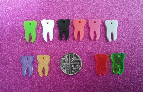 10x tiny tooth acrylic charms//pendants//jewellery making//craft/'s//laser cut