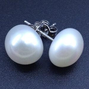 925-sterling-silver-Genuine-AAA-11-10mm-freshwater-white-pearl-stud-earrings