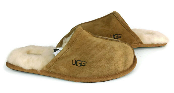 UGG Australia Scuff Herren Braun Wildleder Schaffell Slip On Mule Hausschuhe US Größe 9