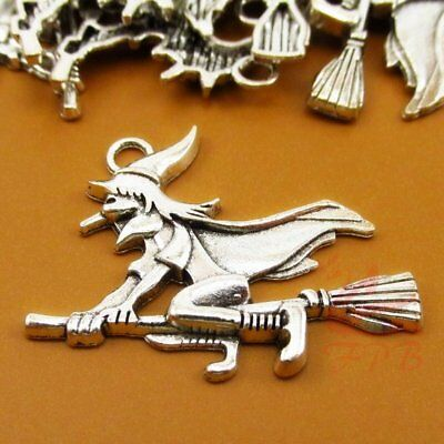 Flying Witch Charms 37mm Antiqued Silver Plated Halloween Pendants 4//15//30PCs