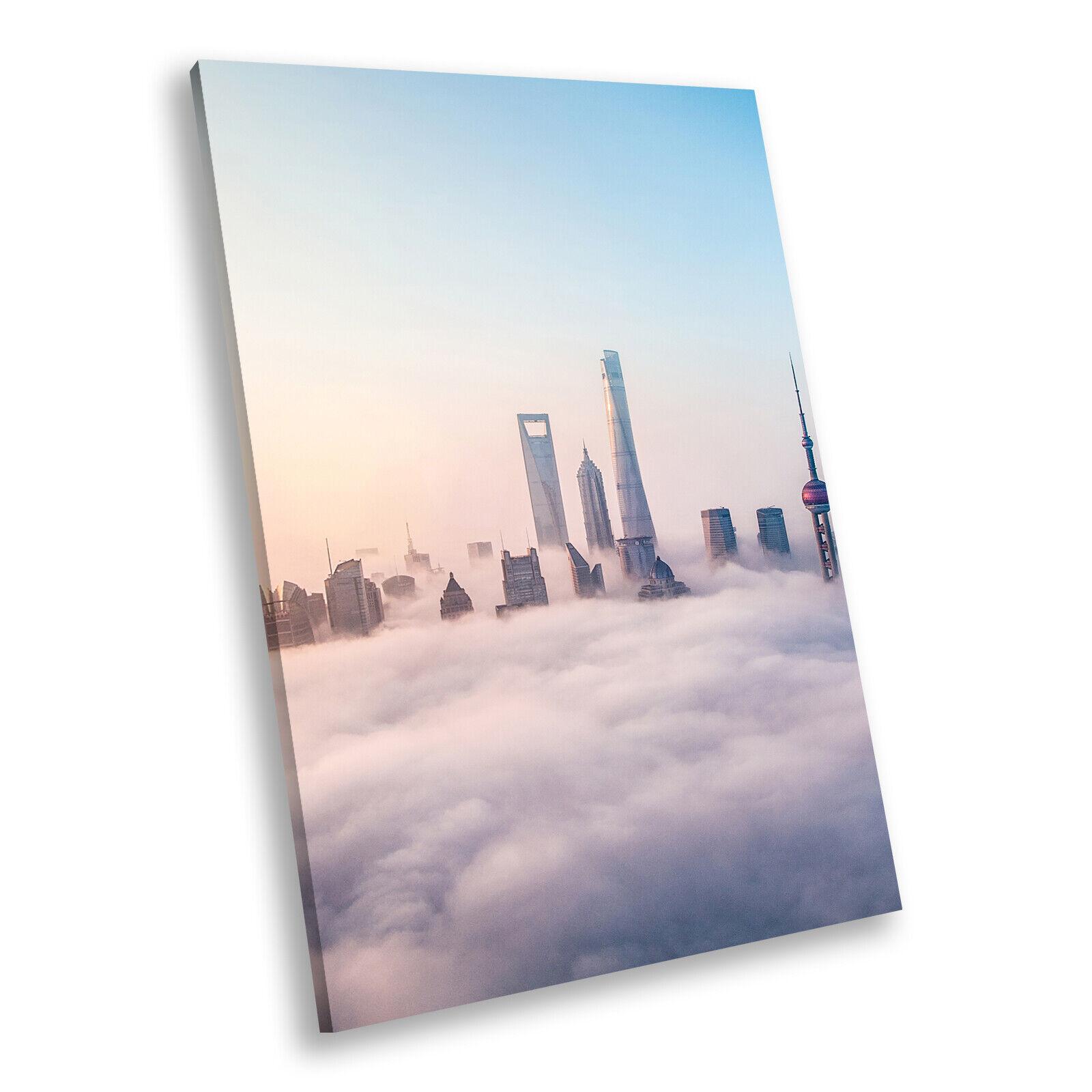 Blau Weiß City Skyline Clouds Portrait Scenic Canvas Wall Art Picture Prints