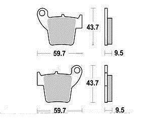 Jeu 2 Plaquettes frein Arrière qualité Honda CR-F 250 R CROSS 2004-2010
