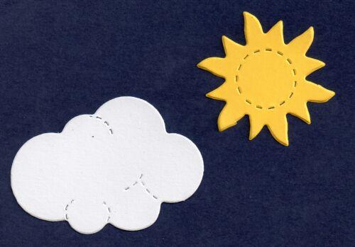 20 Die cut Mini yellow sun /& white cloud 10 of each sizzix accucut card making