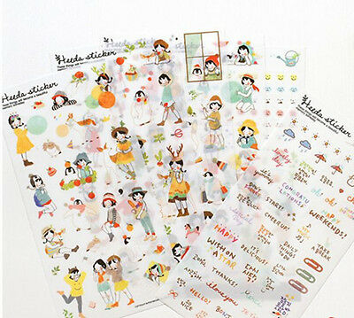 6sheets sweet girl diary notebook  calendar albums Crafts decorative PVC sticker