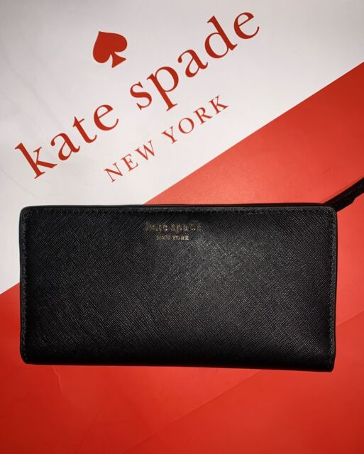 NEW Kate Spade Large Slim Bifold Leather Wallet Cameron BLACK WLRU5444 $119
