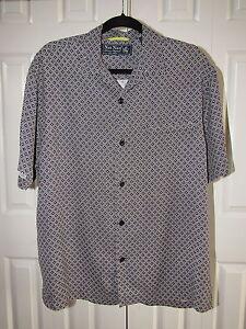 Nat nast 100 silk black printed short sleeve button down for Black silk button down shirt