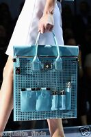 $4250 Versace Perforated Patent Leather And Snakeskin Bag