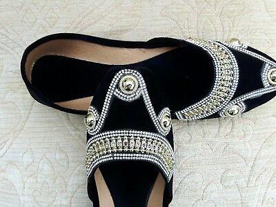 Terciopelo Negro Damas Indio Boda Fiesta Khussa tamaño del zapato 4