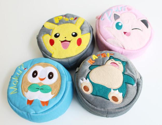 Pokemon Sun & Moon Pikachu Snorlax Jigglypuff Rowlet Very Soft Circle pouch F S