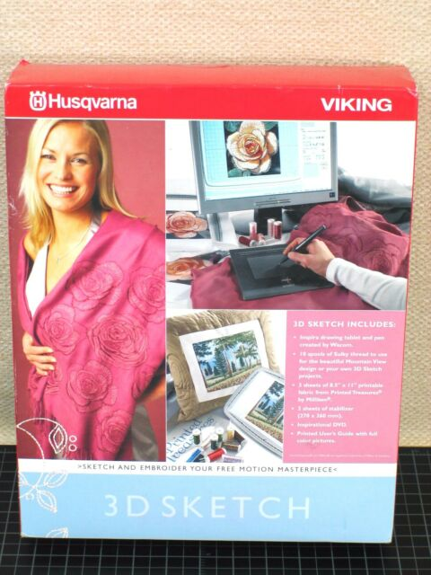 Husqvarna Viking 3D Sketch Embroidery Software w/ Digitizing Drawing Tablet NEW