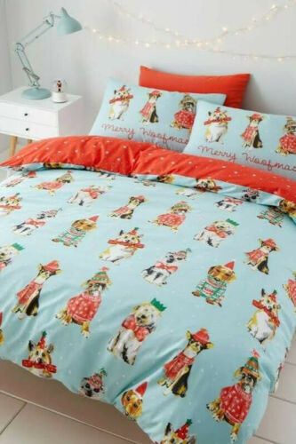 New Next Catherine Lansfield Merry Double Size Duvet Set Christmas Dog Jumpers