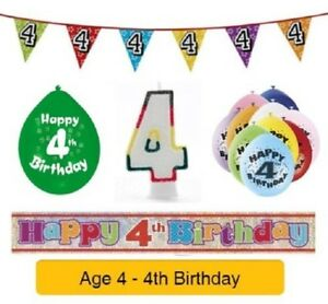 Image Is Loading AGE 4 Happy 4th Birthday Party Balloons Banners