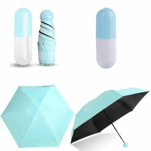 Mini Pocket Compact Umbrella Sun Anti UV 5 Folding Rain Windproof Capsule Case
