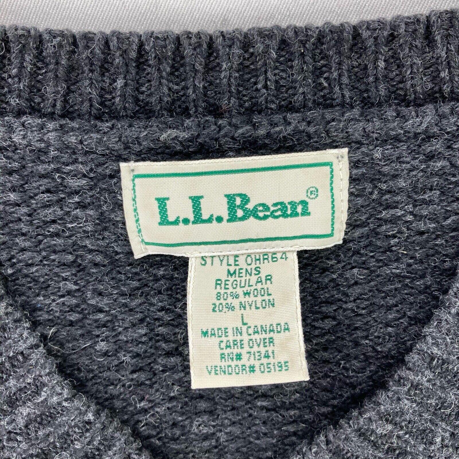 LL Bean Men's Wool V-Neck Sweater Gray • Large - image 3