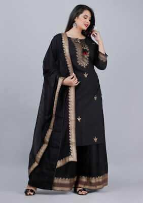 Women Pakistani Black Salwar Kameez Dupatta Designer Palazzo Kurta Stitched Suit    eBay