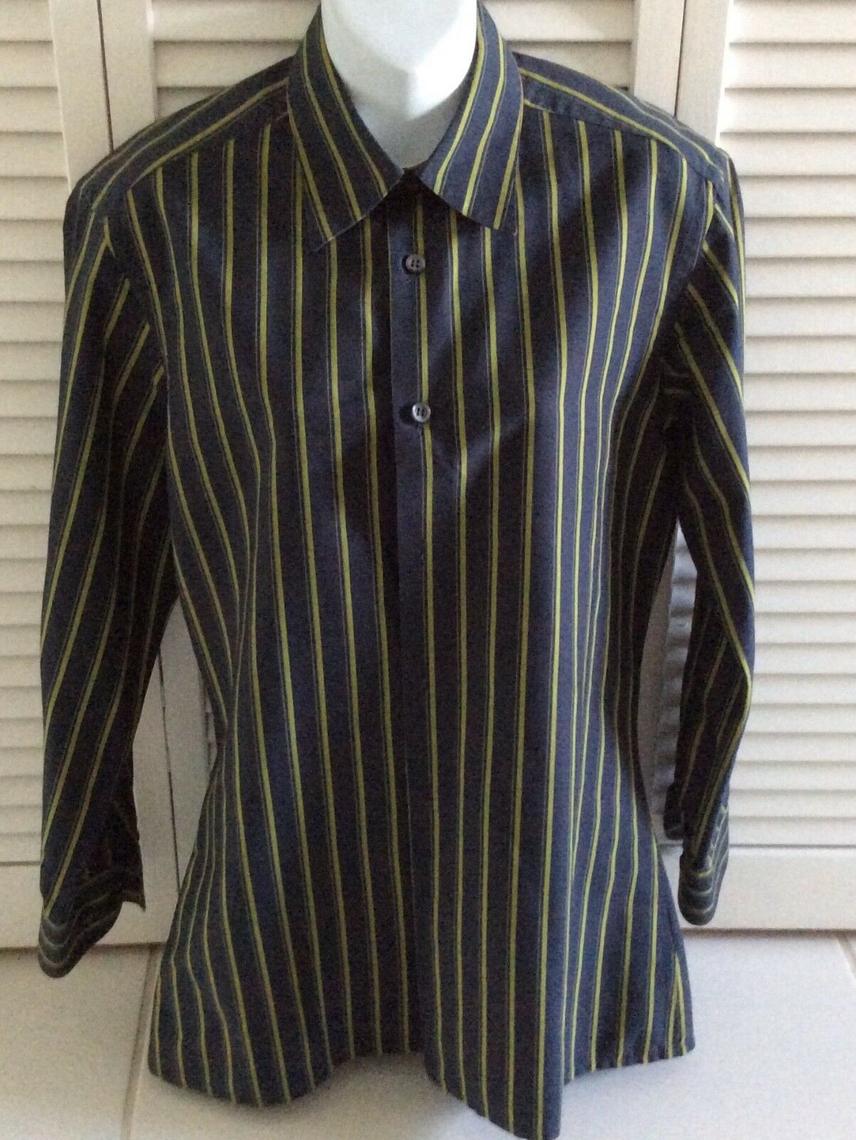 VALENTINO Roma Striped Shirt 100% Cotton Long Sleeved 39 euro Made in