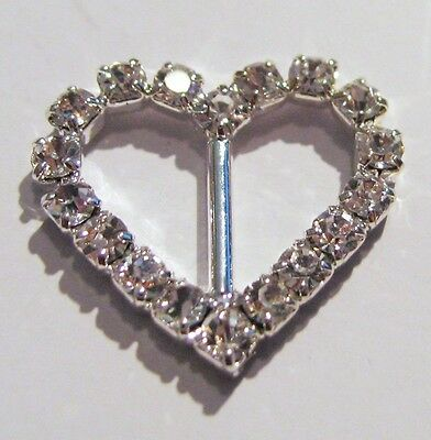 100 Silver Grade A Rhinestone Heart Buckles Wedding  Ribbon Slider 10mm Bar Bulk