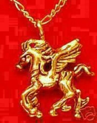 LOOK Gold Plated Pegasus Fantasy Pendant Charm Horse Silver
