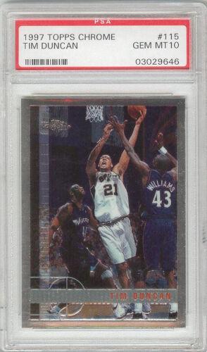 Tim Duncan Spurs 1997 Topps Chrome #115 Rookie Card rC PSA 10 Gem Mint QTY