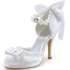 Details zu Weiß Plateau High Heel Schleife Pearlen Pumps Satin Hochzeit Damen Brautschuhe