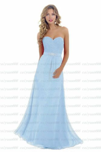 Lace Chiffon Long Bridesmaid Dress Wedding Evening Formal Party Ball Prom Gown