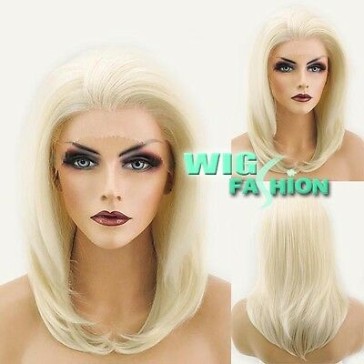 """14"""" Medium Straight Light Blonde Lace Front Wig Heat Resistant"""