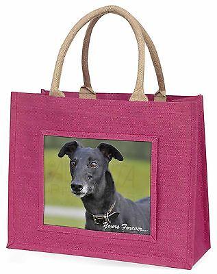Schwarzer Windhund dir für immer Große Rosa Einkaufstasche Weihnachten Pr,
