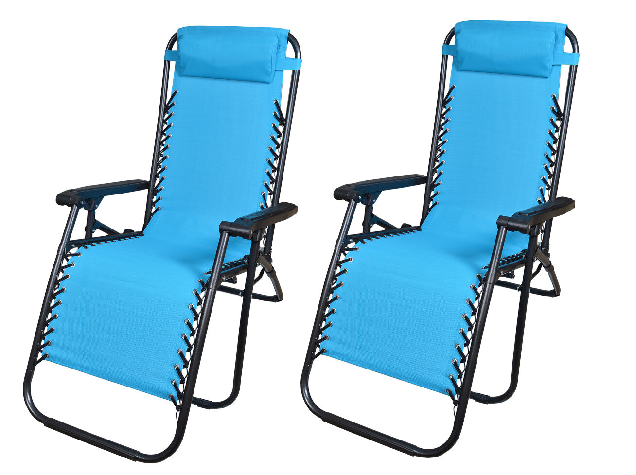 2Pcs Blue Zero Gravity Patio Beach Chairs Outdoor Yard