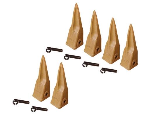 6 CAT Style Backhoe Bucket Tiger Rock Teeth w Pins /& Retainers 1U-3202TL