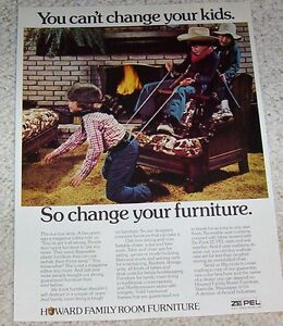 Details About 1974 Print Ad   Little Boy Cowboys Guns On Howard Family  Furniture Starkville MS