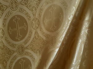 BAROQUE-GOLD-SATIN-JACQUARD-LITURGICAL-FABRIC-CROSS-REVERSIBLE-BROCADE-CLERGY