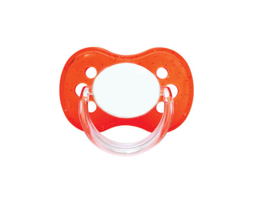 MUTE BUTTON RED UNIQUE DUMMY PACIFIER SOOTHER ALL TEATS SIZES /& COLOURS