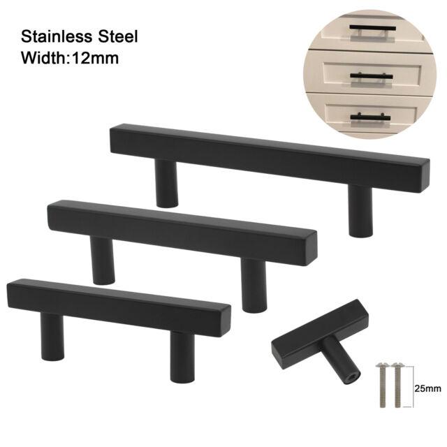 Black Stainless Steel Kitchen Cabinet Handles Drawer Pulls Cupboard Door Knobs