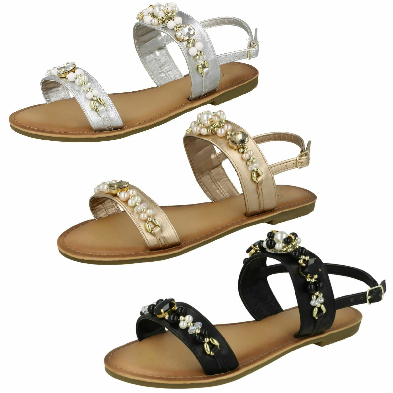 Spot Jewelled On Jewelled Spot Pearl Ladies Slingback Sandals 5080c9