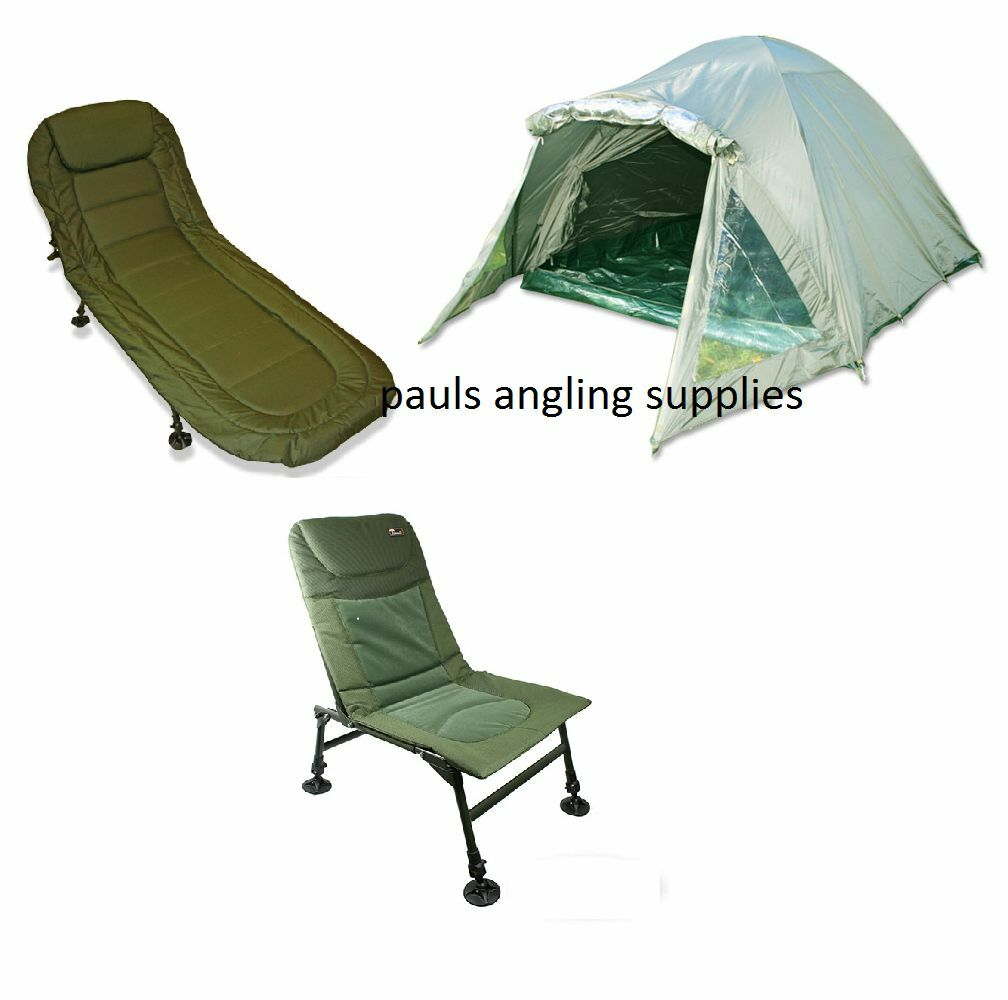 2 Man Double Skin Carp Fishing Bivvy Shelter + 6 Leg Bed Chair + Chair
